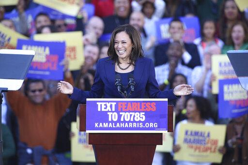 Sen. Kamala Harris says the powerful seek to divide America